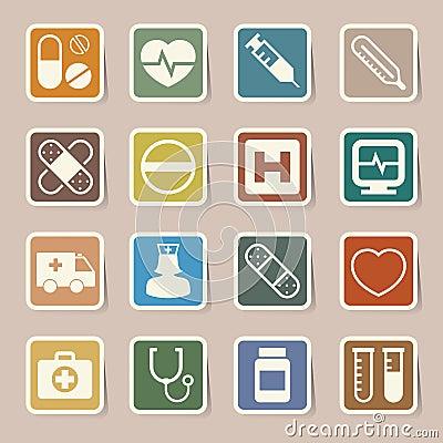 Medical sticker icons set, . Illustration