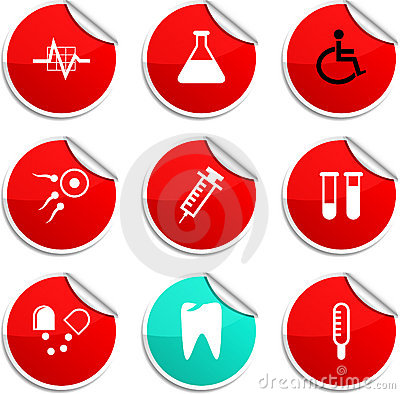 Medical stickers.