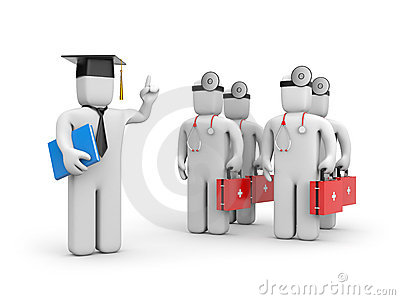 Medical student and lecturer or academic