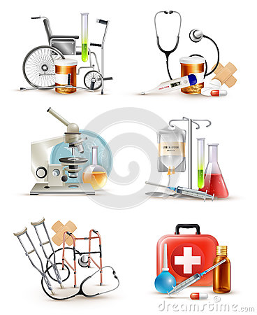 Medical Supply Elements Set Vector Illustration
