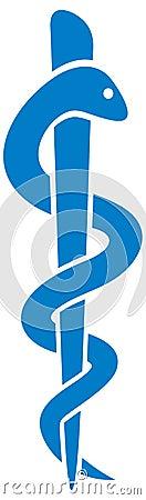 Medical symbol caduceus snake with stick