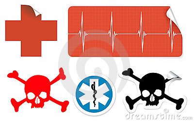 Medical symbols on stickers