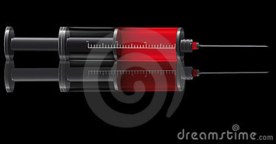 Medical syringe for injections
