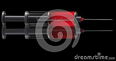 Medical syringe for injections