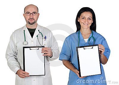 Medical team with clipboard in blank