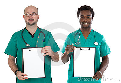 Medical team with clipboard and blank paper
