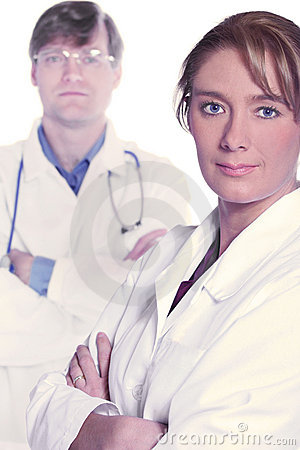 Medical team of serious doctors