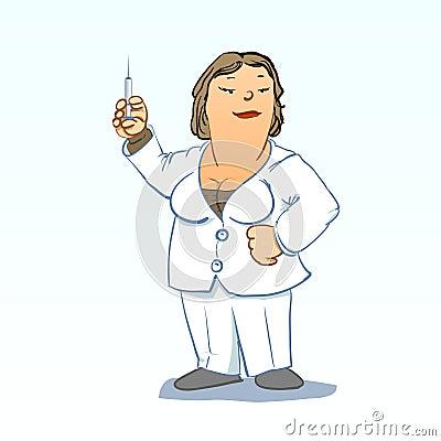 Medical toons - Nurse with syringe
