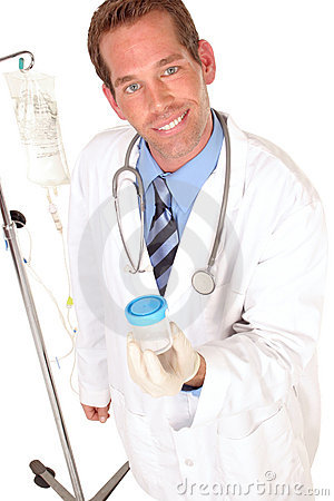 Medical worker holding a specimen bottle