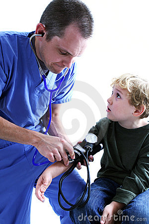 A medical worker and a young b