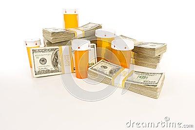 Medicine Bottles and Stacks of Hundreds of Dollars