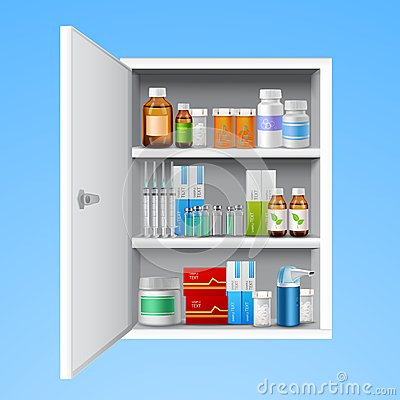 Free Medicine Cabinet Realistic Royalty Free Stock Photography - 47462867