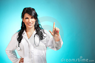 Medicine doctor pointing at something