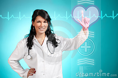 Medicine doctor working with futuristic interface