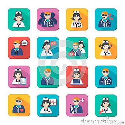 Medicine Doctors and Nurses Icons Set