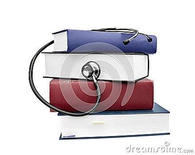 Medicine health books and stethoscope