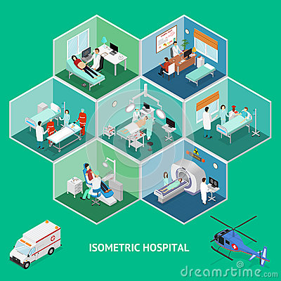 Medicine Hospital Concept Isometric View. Vector Vector Illustration