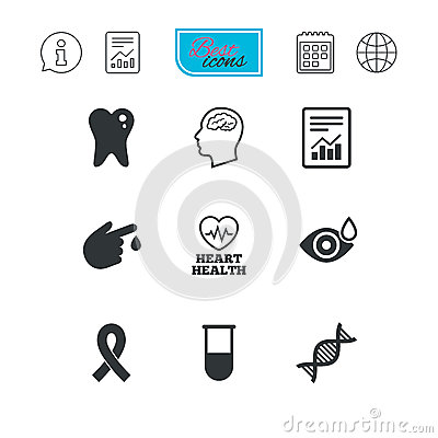 Medicine, medical health and diagnosis icons. Vector Illustration