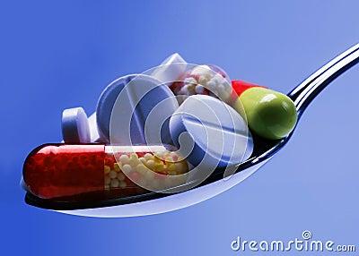 Medicine pill in blue