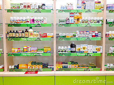Medicine shelves Editorial Photo