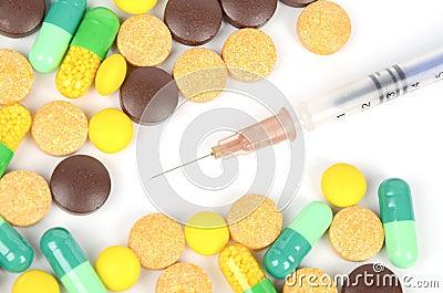 Medicine and syringe
