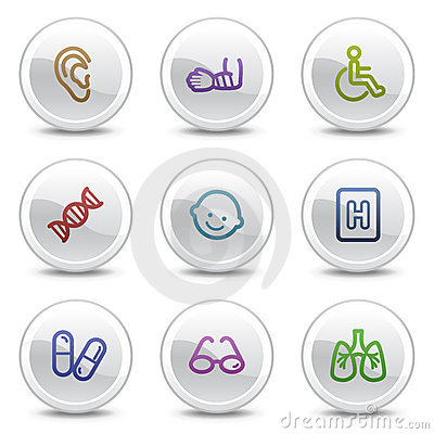 Free Medicine Web Colour Icons Set 2, Circle Buttons Royalty Free Stock Image - 10256086