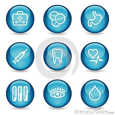 Medicine web icons, blue glossy sphere series