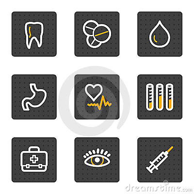 Medicine web icons, grey buttons series