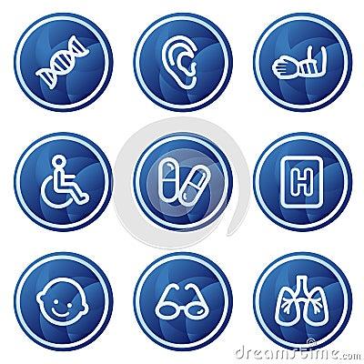 Free Medicine Web Icons Set 2, Blue Circle Buttons Stock Image - 9784941