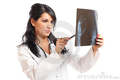 Medicine woman doctor with x-ray