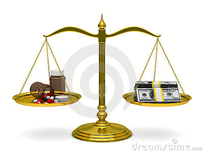 Medicines and money on scales. Isolated 3D Stock Photo