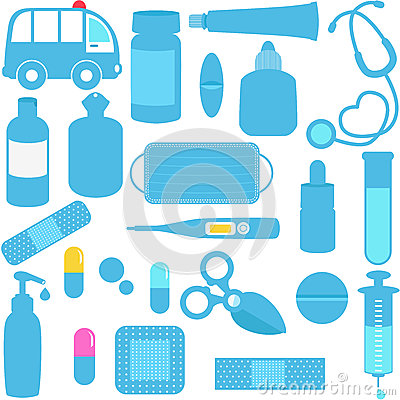 Medicines, Pills, Medical Equipments in Blue