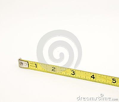 Medida de fita amarela cinco polegadas