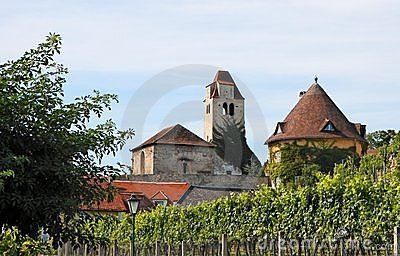 Medieval abbey among vineyards in Durnstein