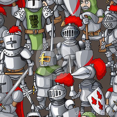 Medieval armored knights formation hand drawn seamless pattern, warriors weapons Vector Illustration