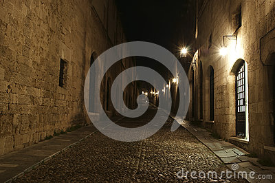 Medieval Avenue of the Knights at night