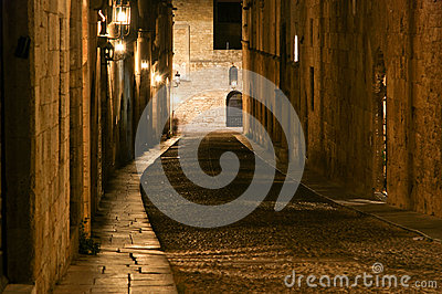 Medieval Avenue of the Knights at night, Rhodes