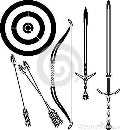 Medieval bow and swords