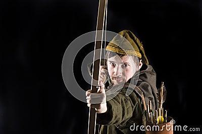 Medieval bowman. Studio shot