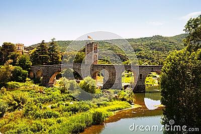 Medieval bridge. Besalu,
