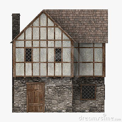Medieval building common house side view stock photo for Building house with side views