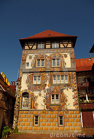 Medieval building with painted facade in Konstanz