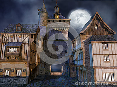 Medieval buildings at night