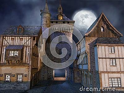 Medieval buildings at night
