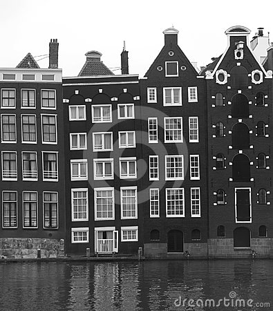 Unesco canal houses in Amsterdam in black-white