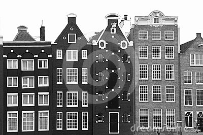 Unesco canal houses in Amsterdam in black-white, Netherlands