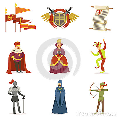 Medieval Cartoon Characters And European Middle Ages Historic Period Attributes Collection Of Icons Vector Illustration