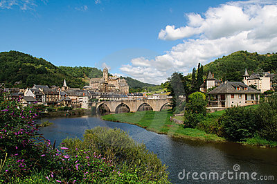 Medieval castle and bridge of Estaing, France
