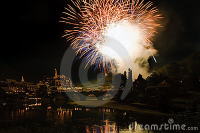 Medieval castle with Fireworks