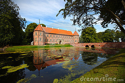 Medieval castle with lake in Denmark